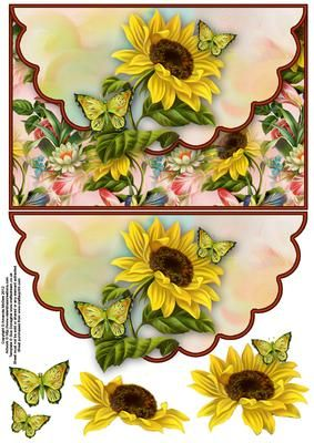 Sunflower and butterflies envelope card with decoupage on Craftsuprint designed…