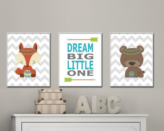 Tribal nursery art for baby boy nursery. Baby boy nursery wall art. Woodland tribal nursery art includes fox and bear nursery art - S-402  This listing is for 3 art prints only - frame not included.  These prints are professionally printed on high quality heavyweight matte paper with archival inks. Please be aware that color variations may occur due to the differences in computer monitors.  IF YOU WOULD LIKE TO CUSTOMIZE YOUR PRINTS: When checking out, please leave a message in the  Note to…