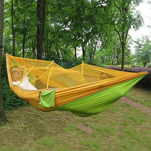 Perfect all in one survival hammock! Portable Single-person Mosquito Net Hammock Hanging Bed for Travel(Orange)