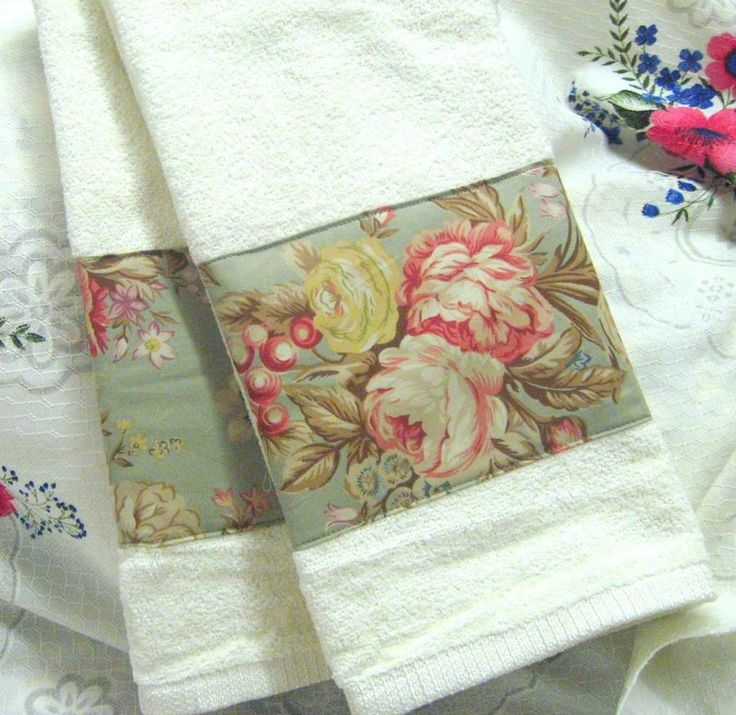 ORIGINAL Sage CHARLOTTE Ralph Lauren 2 White Hand Towels Custom Decorated  #CustomDecorated #Linens
