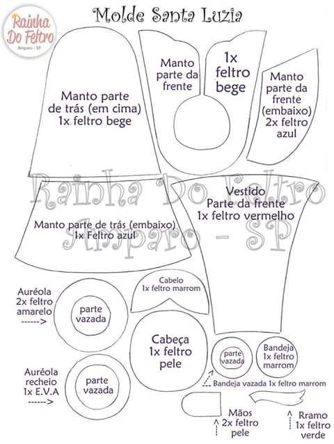 Feltro Fácil: Santa Luzia em Feltro com molde - parte 3