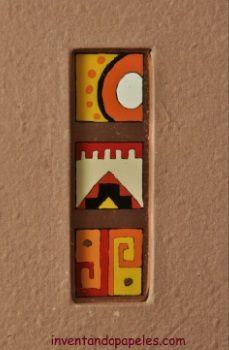 decoración en tapa de agenda pintado sobre lámina de cobre, motivo Aimara