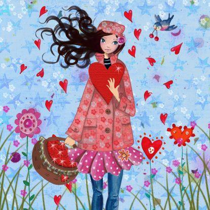 Valentijn Meisje Hart Bloem Illustratie 1