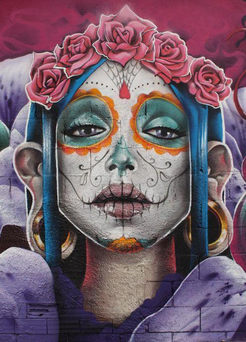 feat Saturno Ags by ~TurkesART: Urban Art, Street Art, Makeup Ideas, Sugar Skull, Of The, Dead, Day, Streetart, Graffiti Art