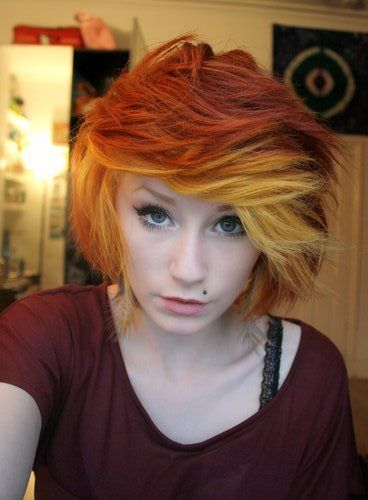 indie/scene hair... Love the color and length! I love the swooshness of the bangs...