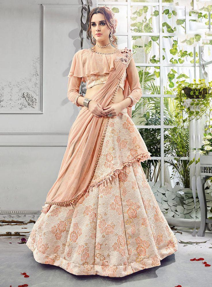 Peach Jacquard Designer A Line Lehenga Choli 114083