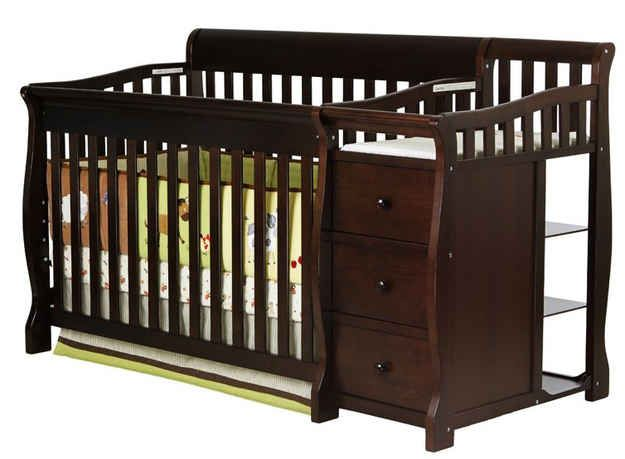 Seek out a crib with built-In changing table.   25 Hacks To Make Room For A Baby In Your Tiny Home