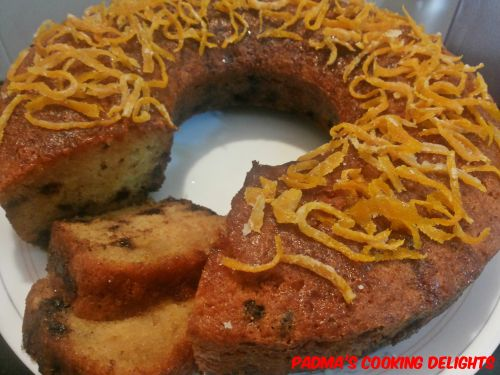 Padma's Cooking Delights:-Chocolate Chip Orange Sour Cream Cake