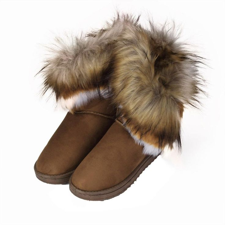 Women's Flat Ankle Fur Lined Winter Warm Snow Boots