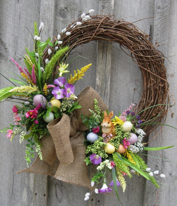 Easter Wreath, Spring Door Decor, Woodland Wreath, Bunny, Country Cottage Wreath. $139.00, via Etsy.