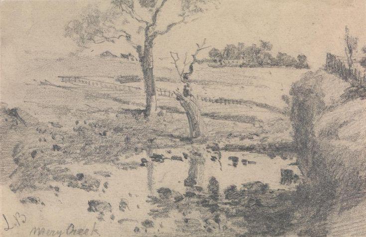 Merri Creek (Melbourne, Victoria) -  Louis Buvelot - circa 1865-1884  (graphite)
