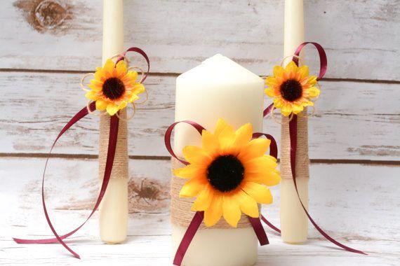 Unity Candle Set Sunflower Unity Candle Rustic by HappyWeddingArt