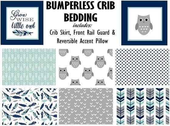 gray owl baby crib bedding