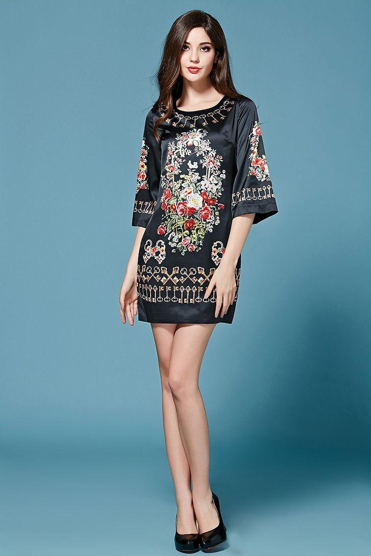 Vintage Tunika Kleid mit Blumen Druck