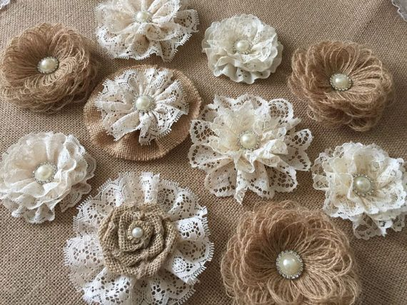 10 burlap and lace handmade flowers with metal rhinestone