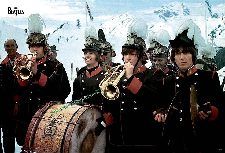 The Beatles in a  still from HELP