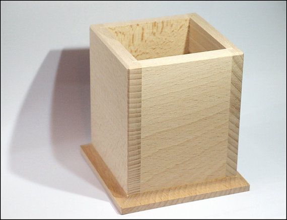 Nice Wooden Pen Holder  Unfinished by GeoSpyorg on Etsy