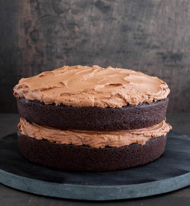 Whipped Chocolate Frosting. A fluffy light chocolate frosting that's not too sweet. Perfect on top of a rich chocolate cake.