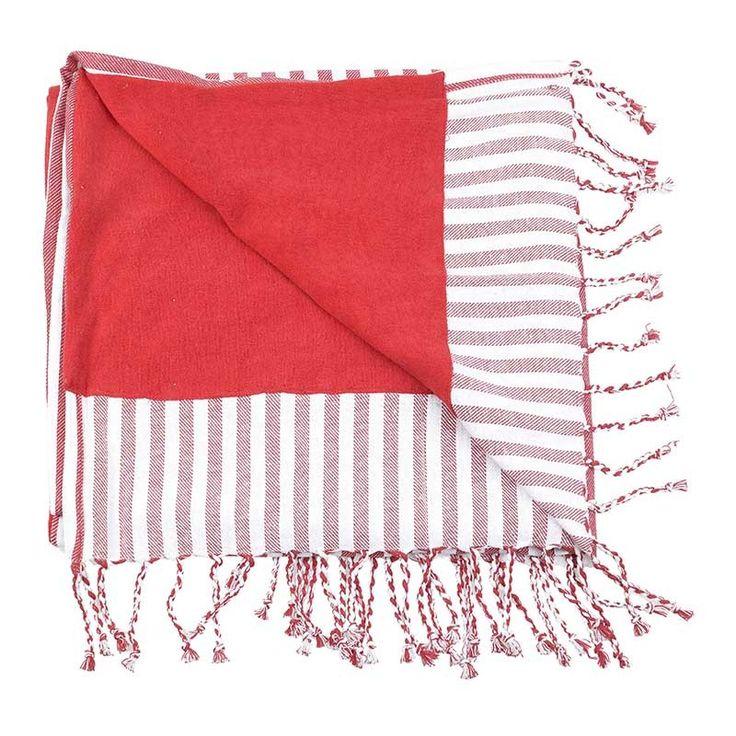 BODY TOWEL - PESTEMAL- RED STRIPES - Towels