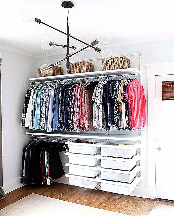 Gunstige Schrank Treffen Sie 10 Tipps Und 60 Kreative Ideen Zum Dekorieren In 2020 Clothes Storage Without A Closet Clothing Rack Bedroom Small Bedroom Storage