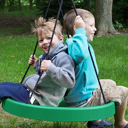 Green: Tire Swing, Super Spinner FUN n SAFE, Tree Swing, Child Swing, Best Swing on the Planet! Easy Swing Set or Tree Install