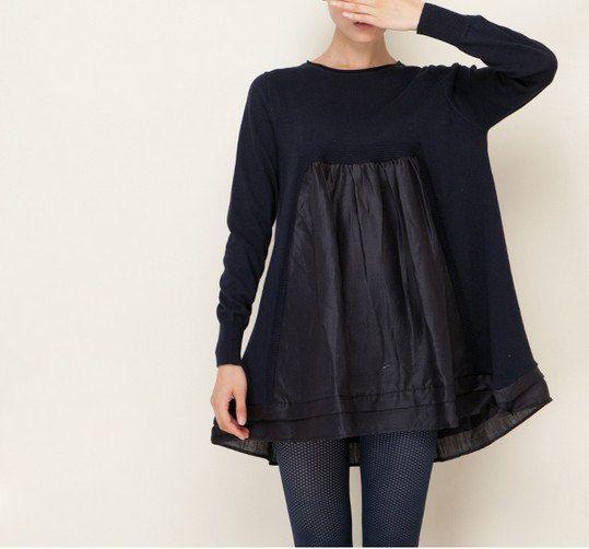 Navy Knit W/Cotton Fabric Patchwork Dress Loose Fitting Dress Cotton Top Women Round Neck Winter Dress Long Sleeve Cotton Top