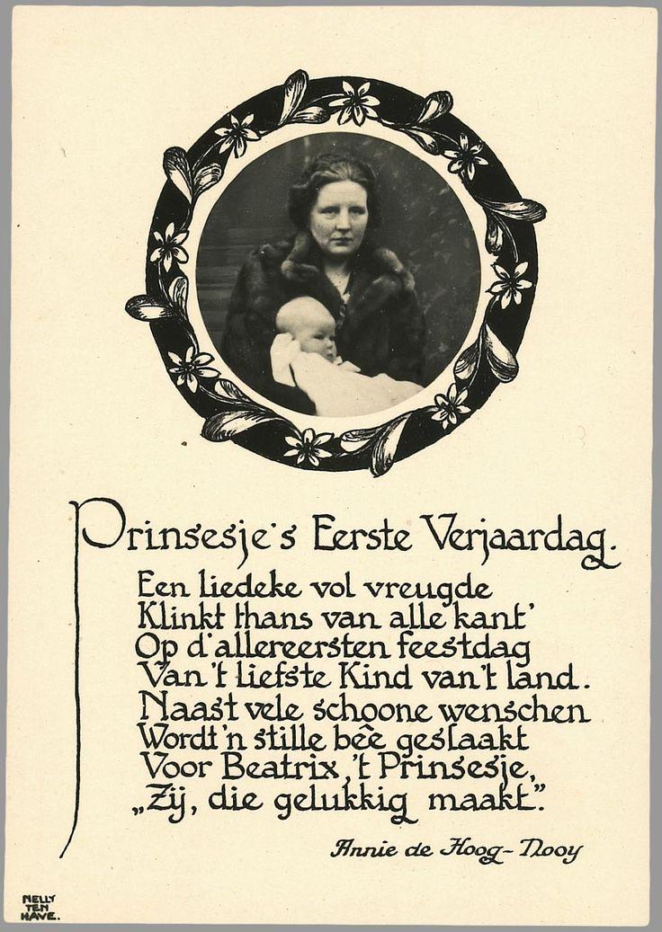 1939 Portret met een lied ter viering van de eerste verjaardag van prinses Beatrix