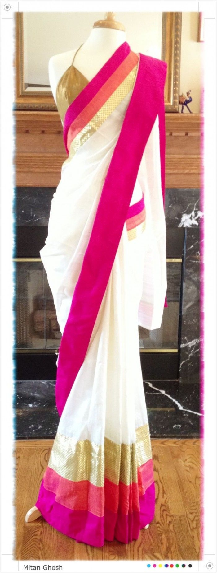 White colour silk saree with pink, orange and gold border