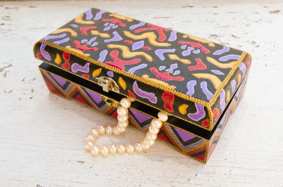 Jewelry box Velvet // Wooden hand painted box // by LekaArt, $57.00