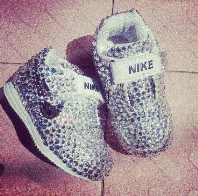 7be3a54765d0 Cute baby bedazzled Nike shoes