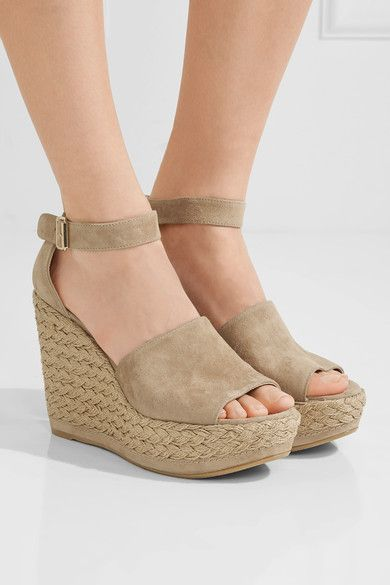 Wedge heel measures approximately 110mm/ 4.5 inches with a 20mm/ 1 inch platform Beige suede Buckle-fastening ankle strap Designer color: Mojave Made in Spain