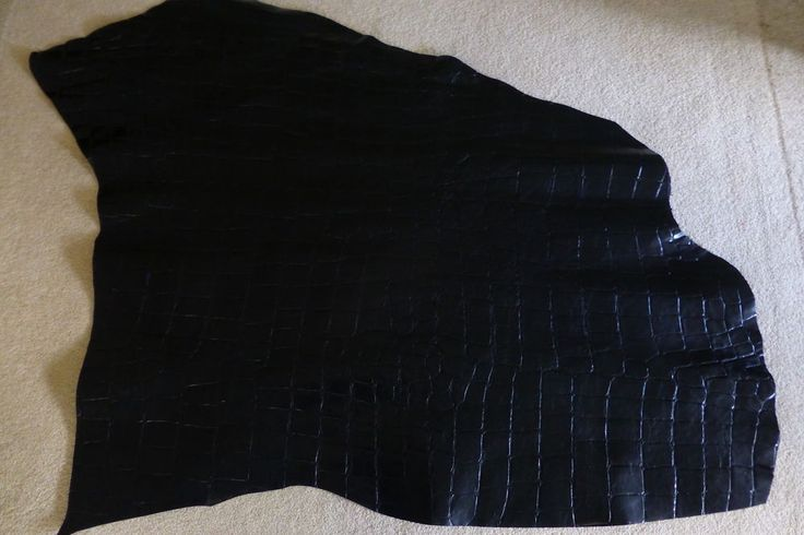 6.0 SqFt LUXURY COW LEATHER HIDE - BLACK - CROC PRINT in Crafts, Leathercraft | eBay