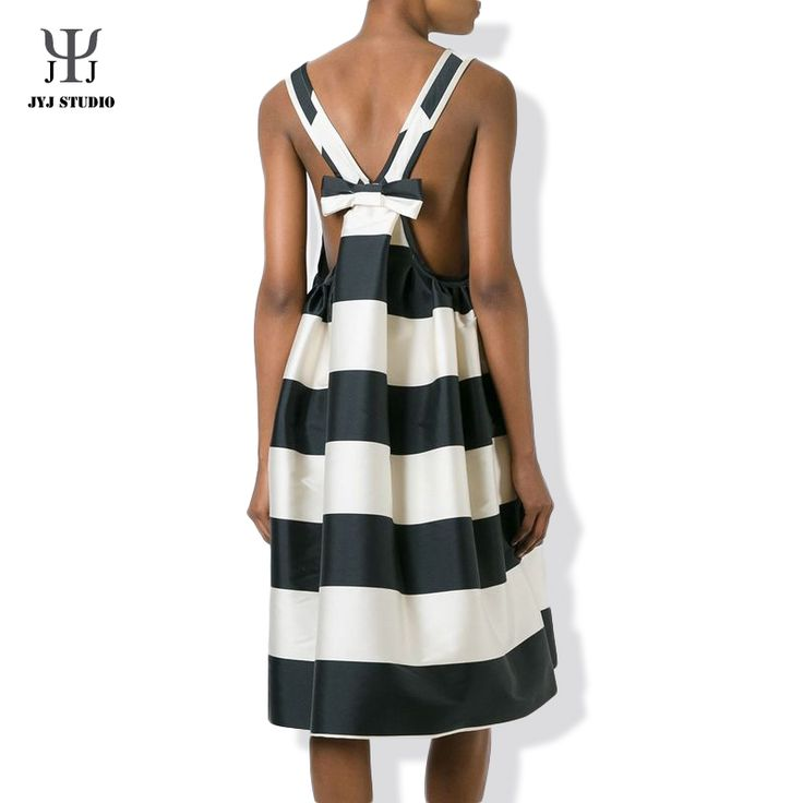 Aliexpress.com : Buy Black And White Striped Dress Big Bow Cute Halter Elegant Sexy Dress Women Knee length High Waist Casual Loose Stripe Dress from Reliable dress up girls dresses suppliers on JYJ STUDIO
