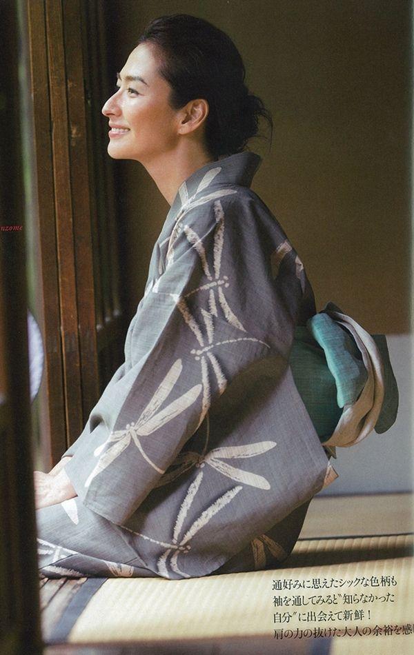 Yukata 浴衣 / 奥州木綿 松煙染め(トンボ柄)