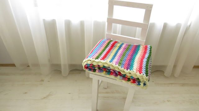 Crochet granny stitch stripe blanket