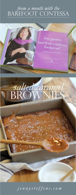 Salted Caramel Brownies | from A Month with The Barefoot Contessa    #JennyHobicksBarefootContessaProject    http://jennysteffens.blogspot.com/2013/01/salted-caramel-brownies-barefoot.html