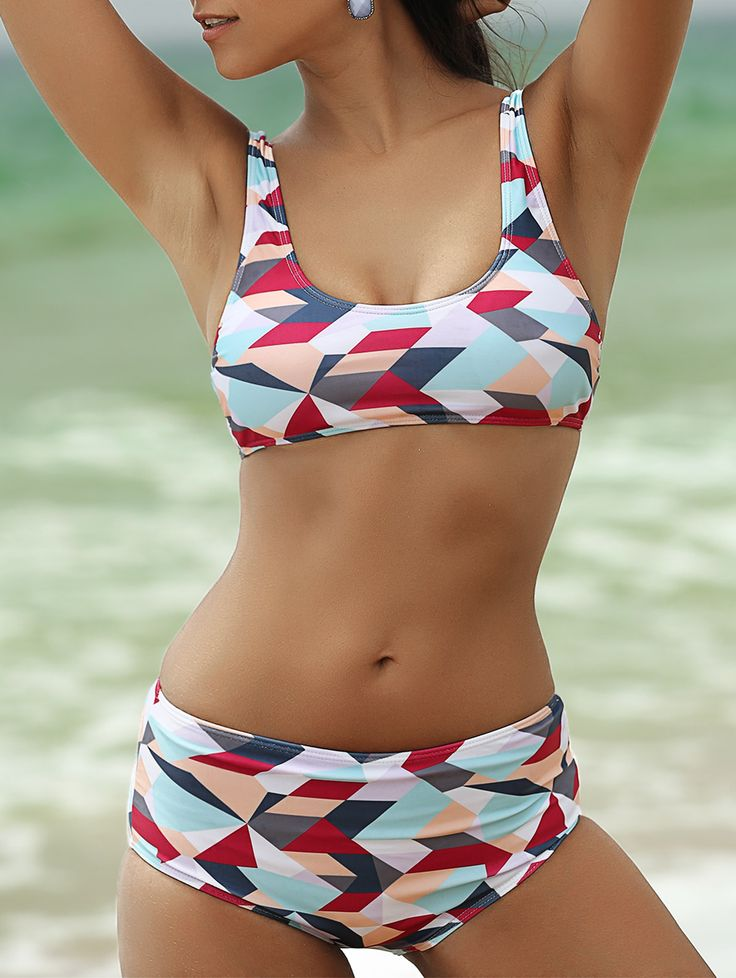 Scoop Neck Colorized Rhombus Print Women's Bikini Set