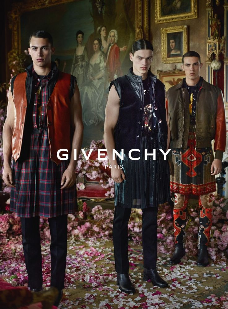 On the heels of a teaser video, Givenchy releases images from its fall-winter 2015 advertising campaign. Models Alessio Pozzi, Filip Hrivnak and Lucas Cantao are front and center for the Mert & Marcus lensed advertisements. Posing on a flower petal covered floor, the model trio deliver two distinct looks for the season: one clad in sophisticated pinstripes and an adventurous alternative revolving around loose flowing prints.