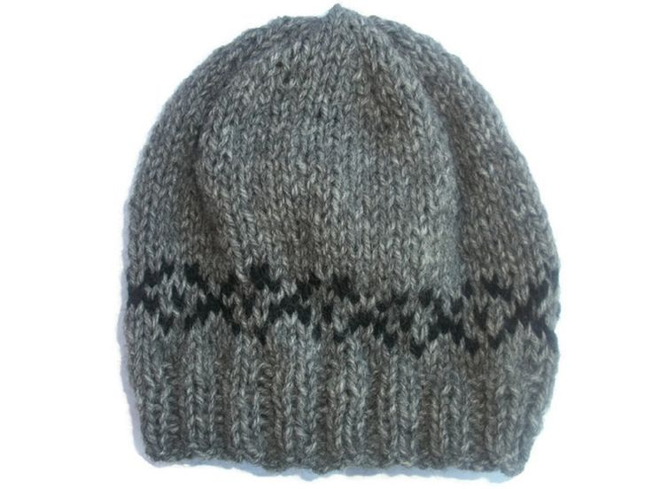 Knit Baby hat, Fair Isle Baby Hat,  Alpaca hat Merino Beanie, Baby Boys Hat, Grey baby Hat by thekittensmittensuk on Etsy