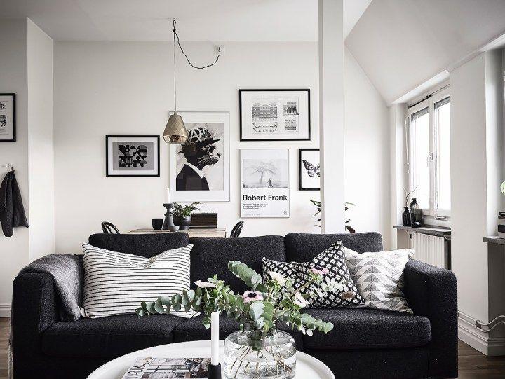 mucho estilo nórdico interior diáfano estudio pequeño decoración diseño de interiores decoración pisos poco espacio decoración mini pisos decoración interiores pequeños decoración en gris cocina pequeña nordica