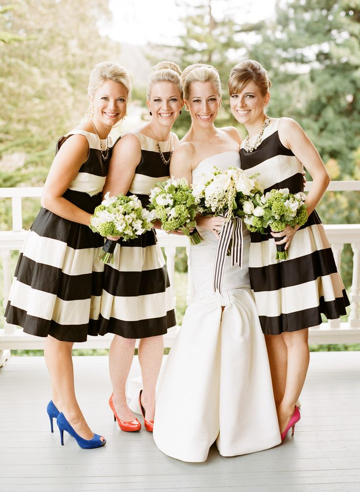 Striped bridesmaid dresses by Kate Spade / Photography: Josh Gruetzmacher Photography / Florals by Michael Daigian / SMP