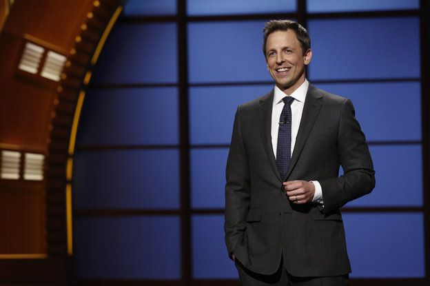 "NPR Fresh Air - Seth Meyers hosts the premiere of his talk show, Late Night with Seth Meyers, in February. ""The trickiest part of this job the first week was just figuring out what to do with my hands,"" says Meyers, who was used to holding a microphone during standup. Remembering that he had pockets was key."