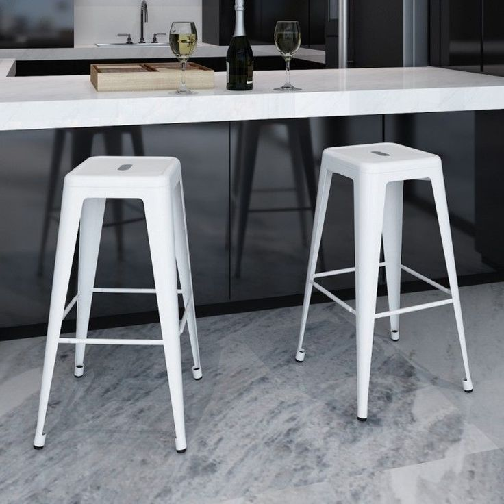 High Bar Chairs 2 pcs Stools White Kitchen Furniture Steel Modern Style Indoors #HighBarChairs
