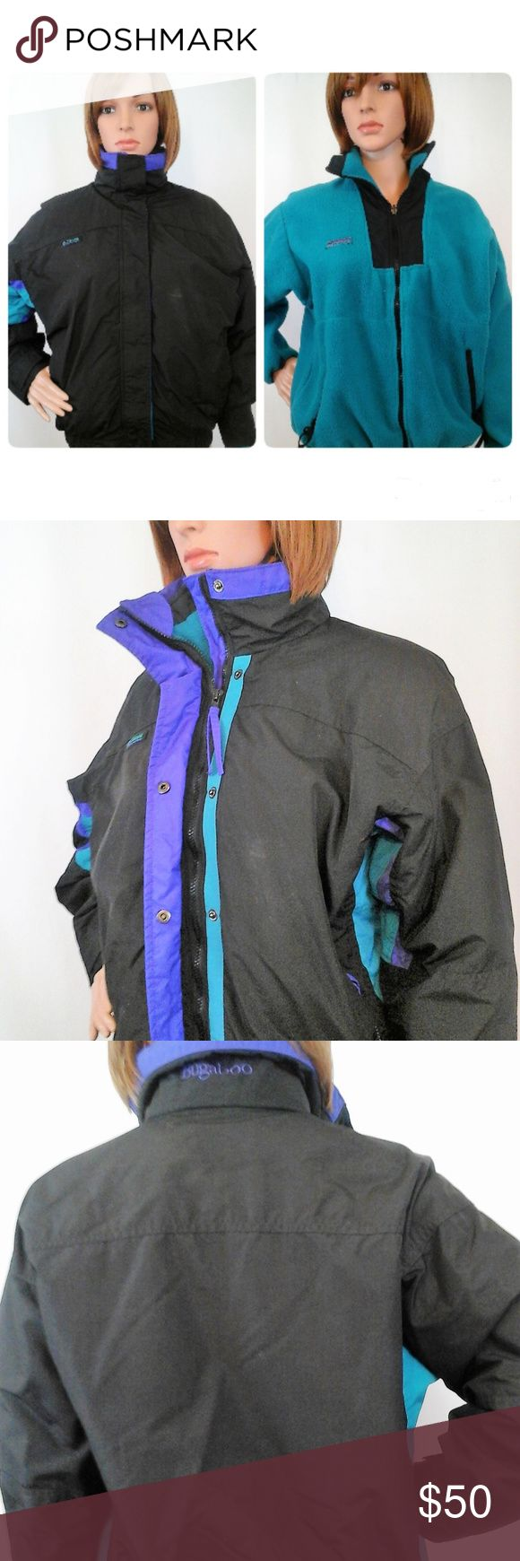 "Champion Sz Medium Black Bugaboo 3 in 1 Ski Jacket Gently worn, clean and in excellent pre-owned condition. This vintage jacket can be worn three ways:  outer jacket alone, fleece inner jacket alone, or both combined.  Chest = 20"" (armpit to armpit - across the front) Length = 23"" (shoulder to hem) Material:  Polyester Features:   Button & zip front, 2 lower zip pockets on both pieces  No trades or modeling of clothing or accessories.  I will gladly provide additional measurements if needed…"