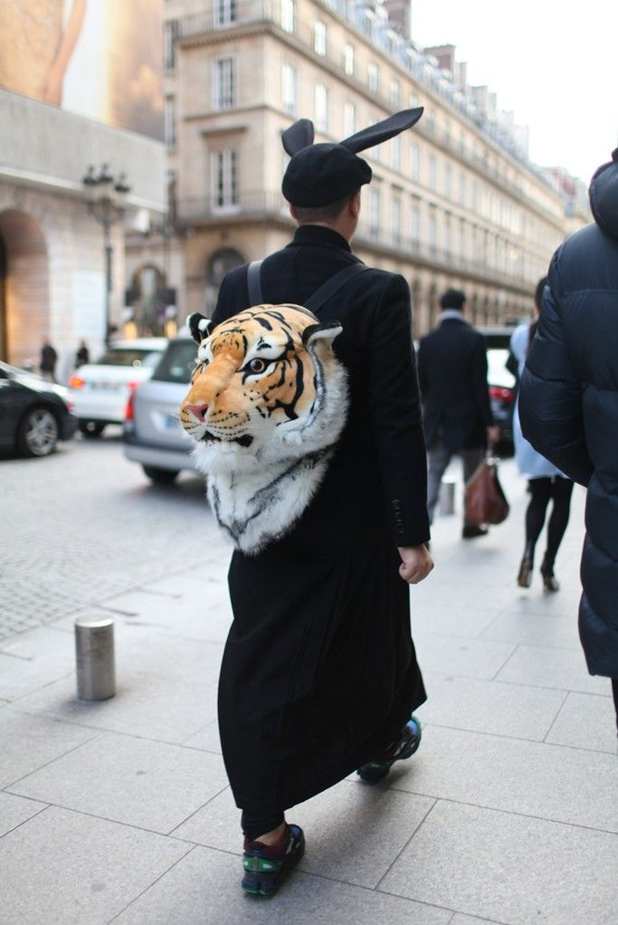 Paris Men's Fashion Week street style. Maybe it's time for Chris to break out the stuffed lion's head from the basement...