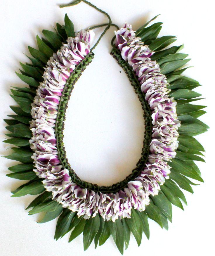 Fresh Flower Bicolor White and Purple Lei