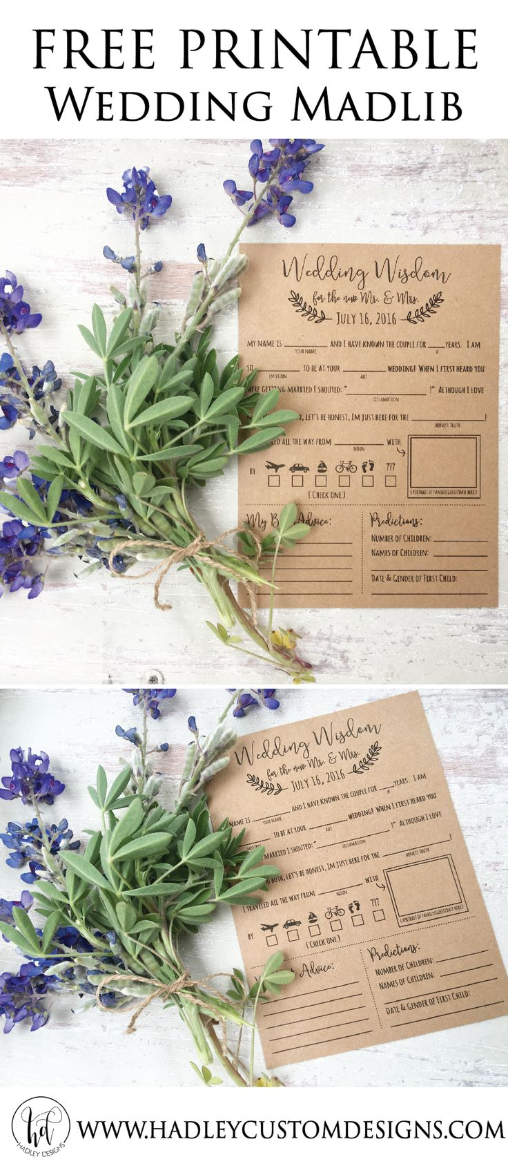 FREE madlib wedding printable!  A great way to entertain your guests and a fun keepsake for you!