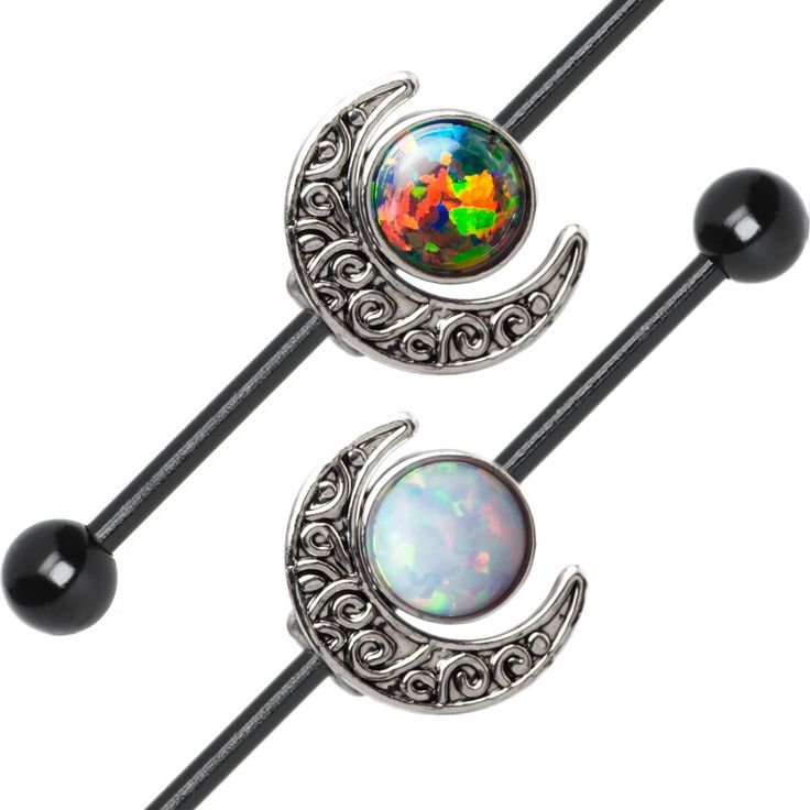 Industrial Barbell Opal and Moon Charms 14ga Cartilage 316L Steel + Extra Bars #BodyJewelrySource