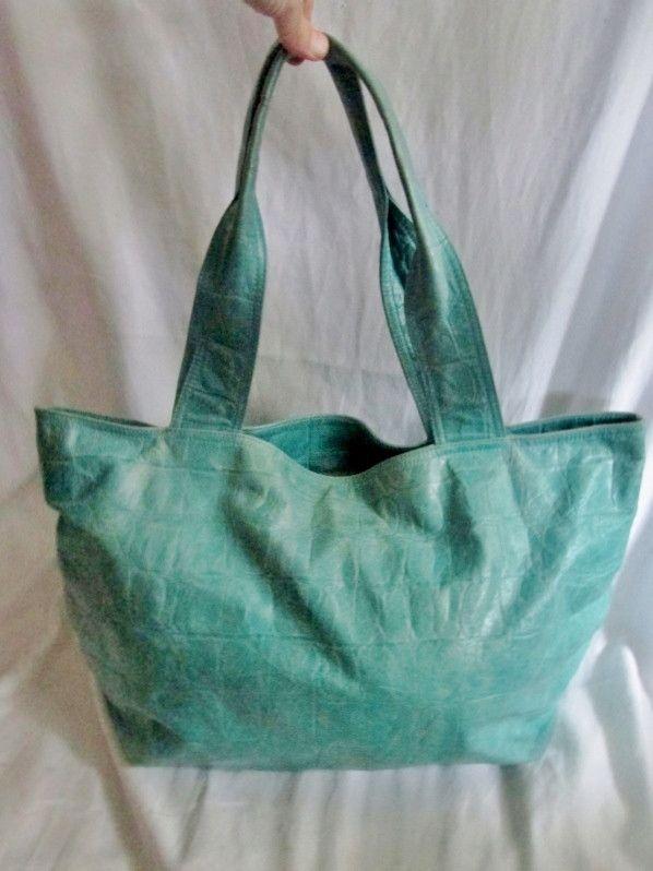 ABRO ITALY Leather Shoulder Bag Tote Handbag CARRYALL Croc AQUA BLUE L