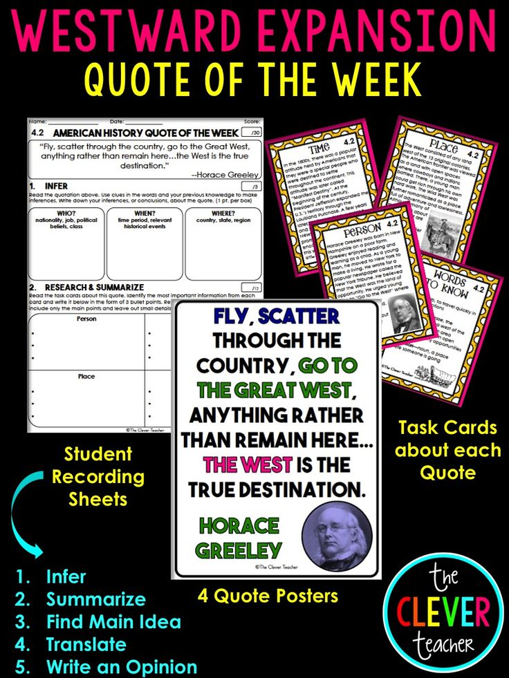 25 best 4 clever teacher resources images on pinterest resources westward expansion task cards literacy strategies fandeluxe Gallery